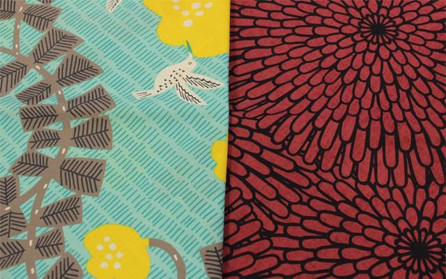 鳥、菊アクアドロップ風呂敷